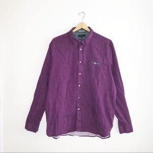 Ted Baker Purple Cotton Button Down Dress Shirt 3X